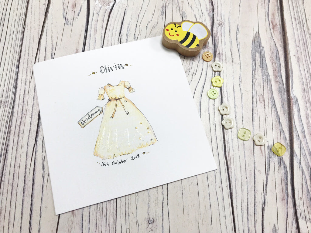 Christening Gown Card- Personalised