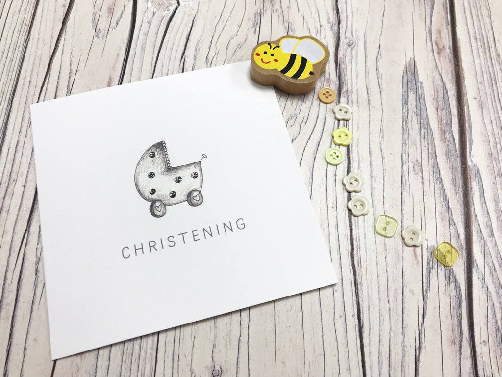Little Pram Christening Card Card - Personalised
