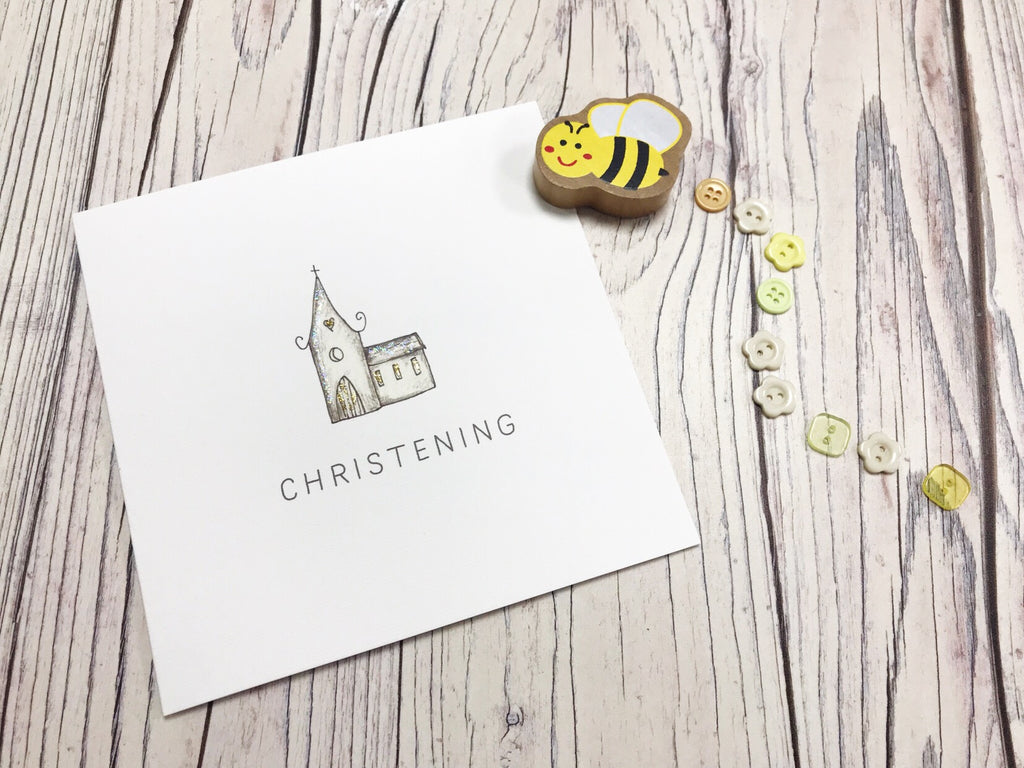 Little Church Christening Card - Personalised