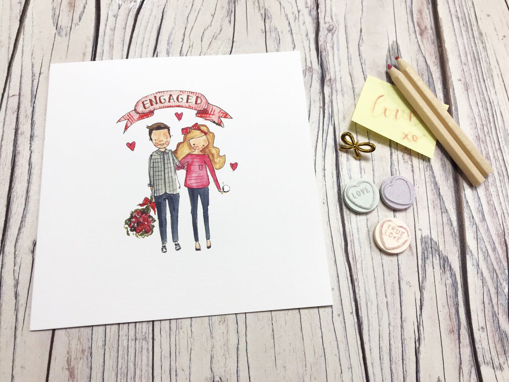 Engaged Couple Card - Personalised