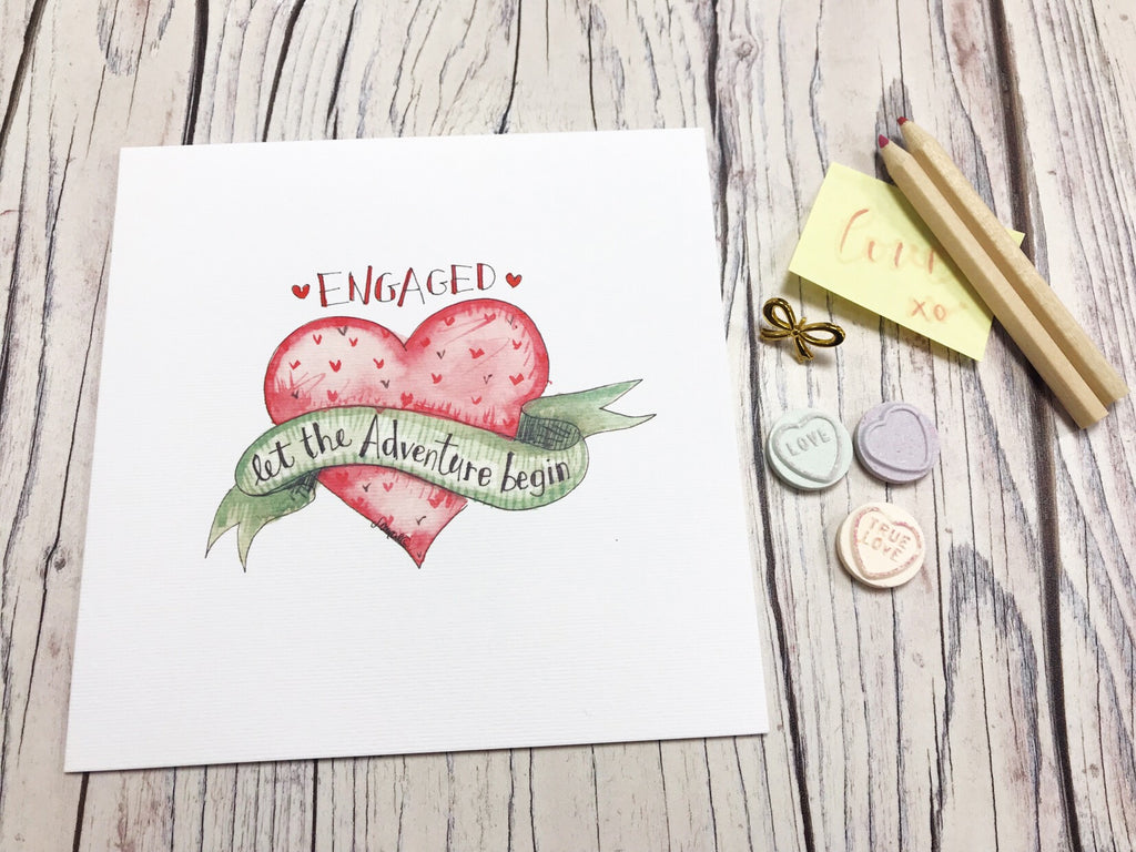 Engaged Let the Adventure begin Card - Personalised