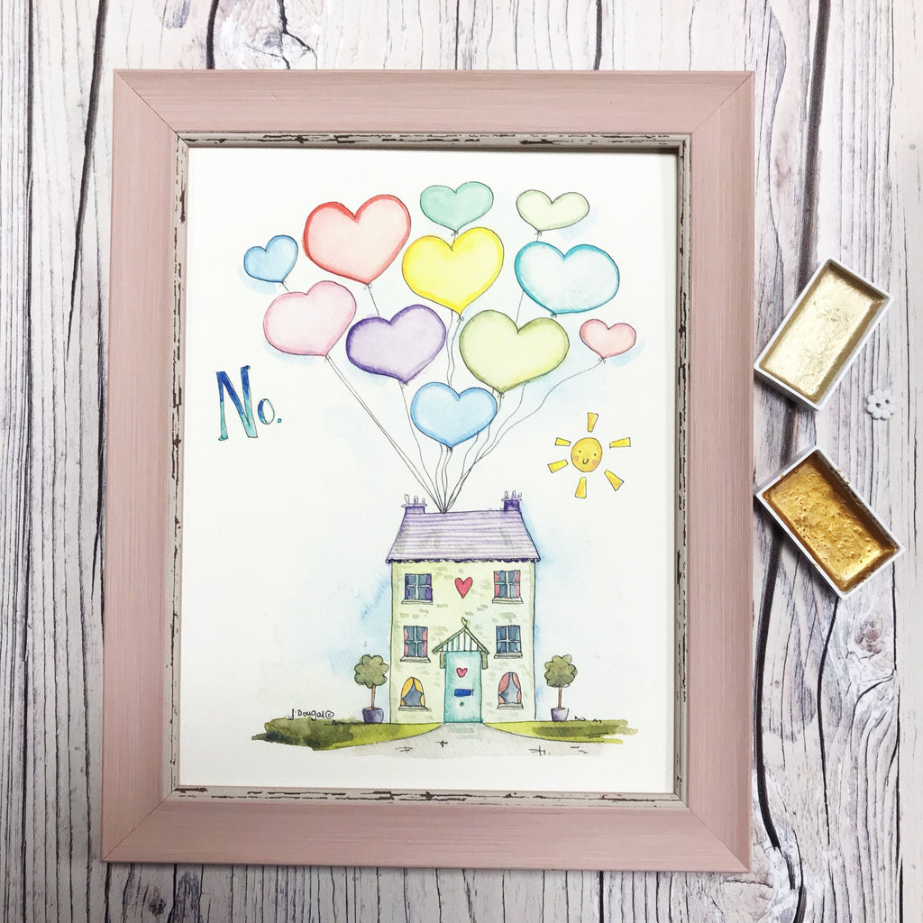 "NEW Medium Framed Picture ""Balloon House"""