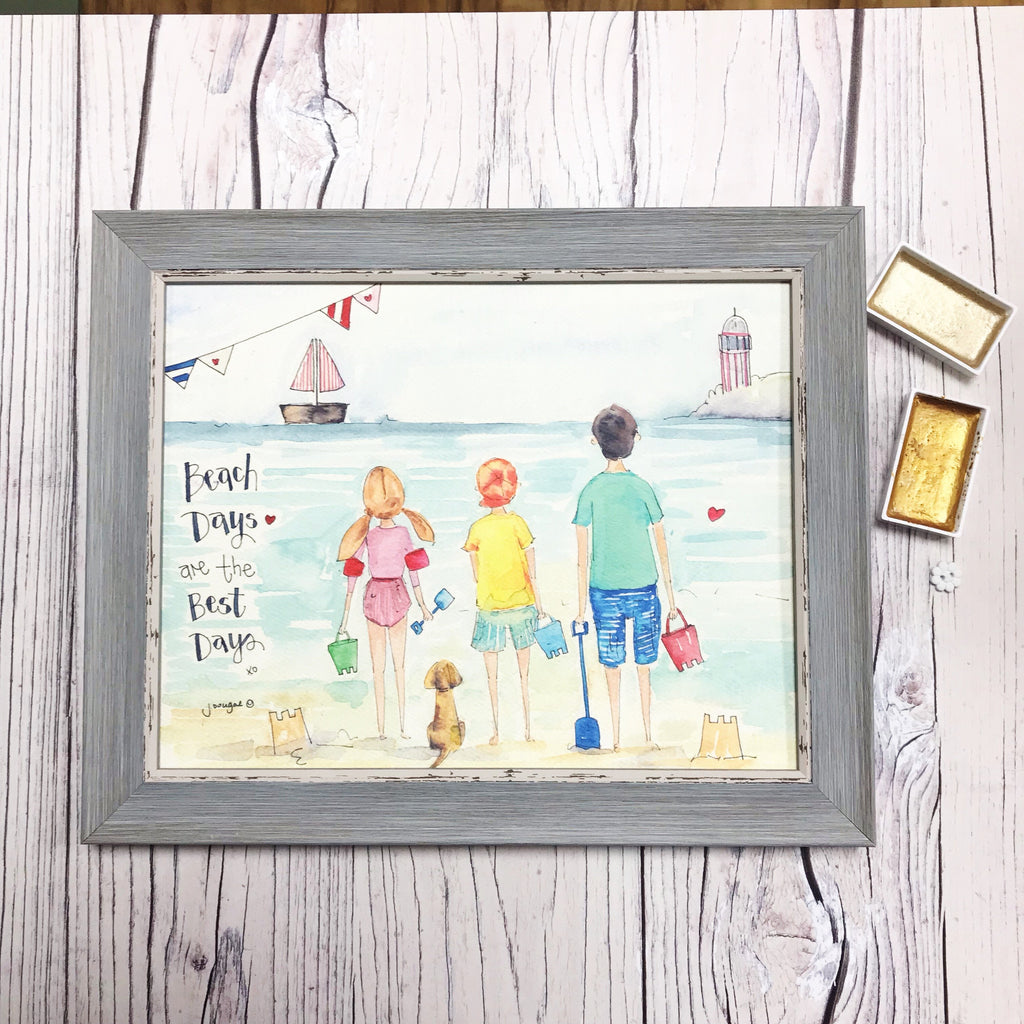 "NEW Medium Framed Picture ""Beach Days"""
