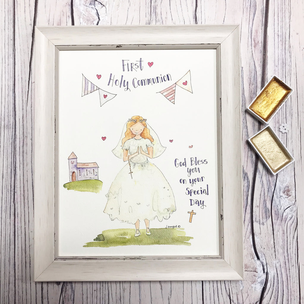 "NEW Medium Framed Picture ""First Holy Communion"" Girl with Church and verse"