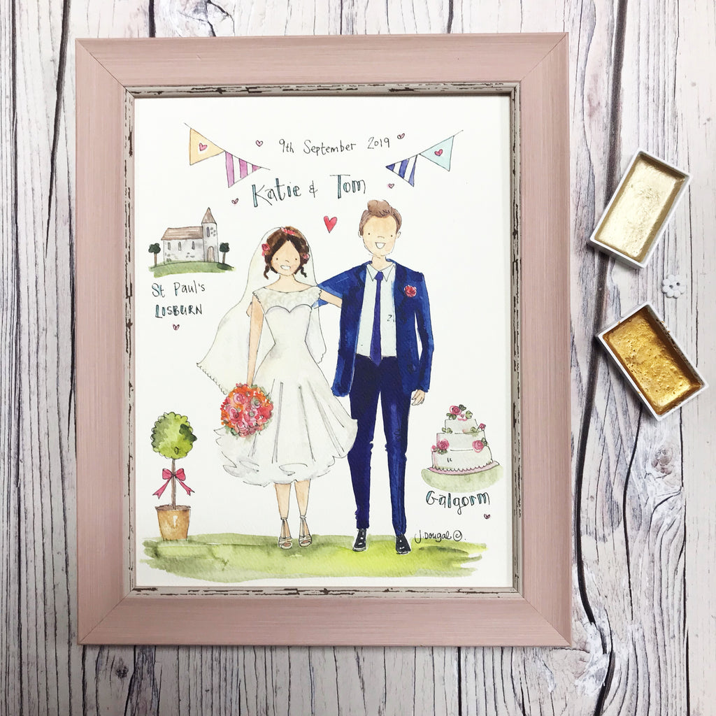 Medium Framed Picture Bride and Groom, Church and Venue