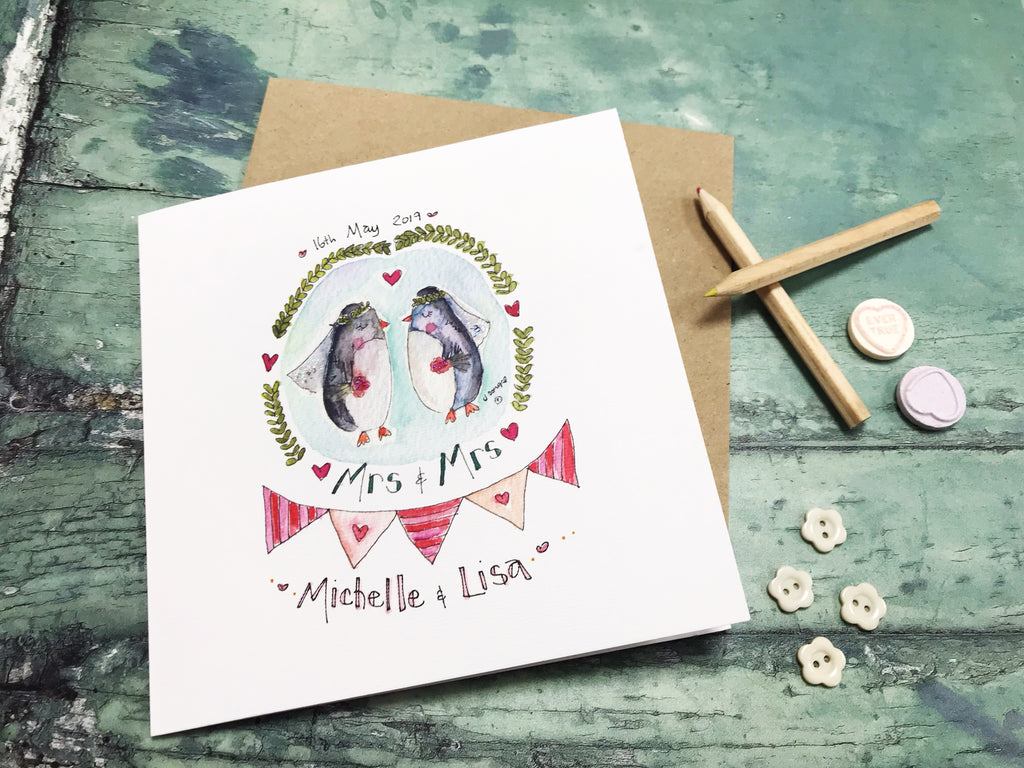 Mrs and Mrs Penguins Card- Personalised