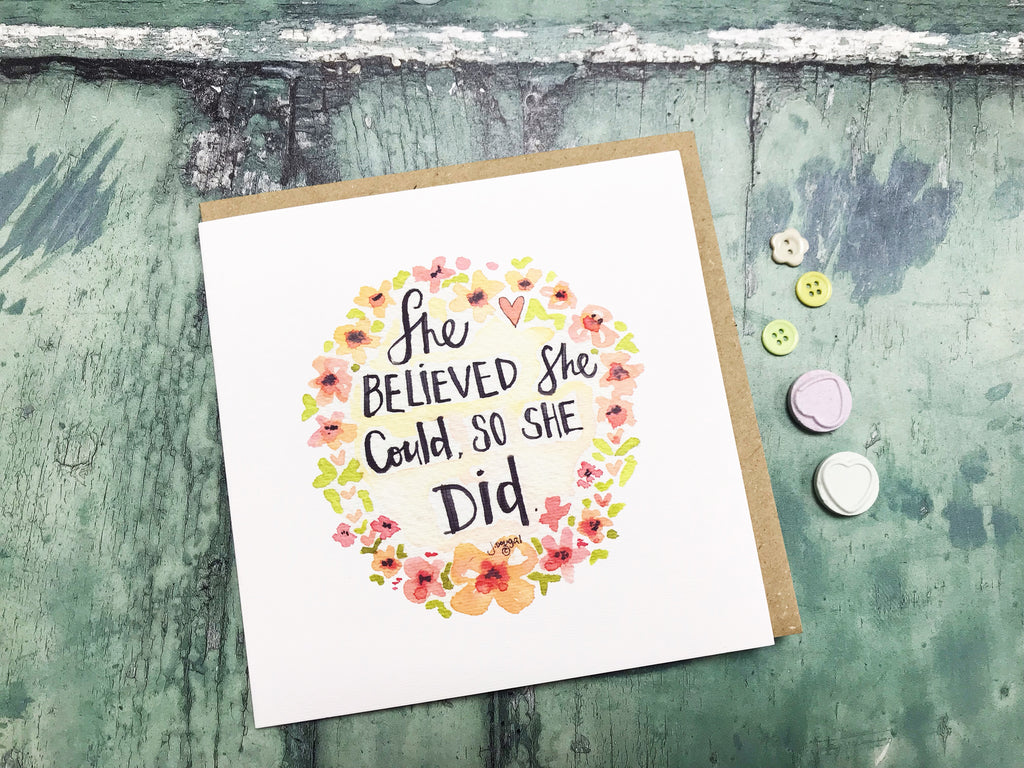 She Believed she Could Card - Personalised