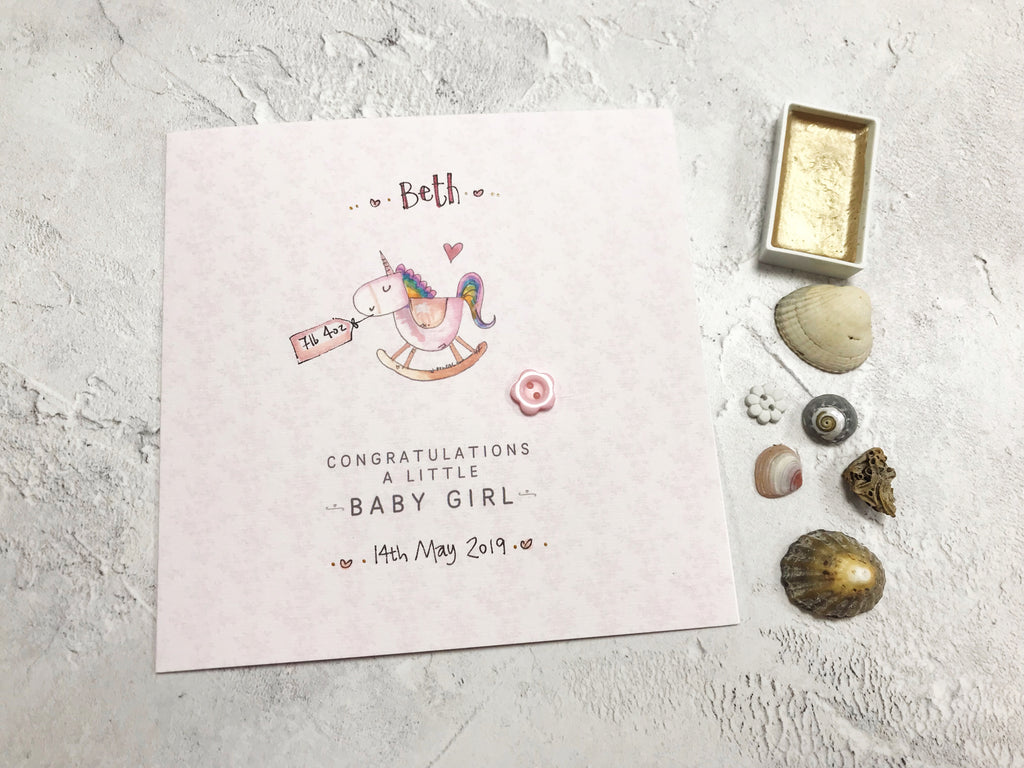 Baby Girl Card - Rocking Unicorn - Personalised
