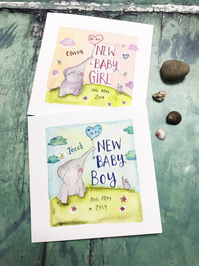 Baby Elephant Blue - Personalised