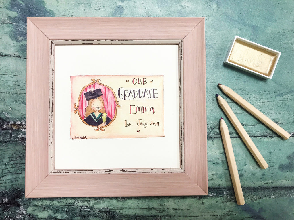 "Framed Print ""Graduate GIRL"" can be personalised"