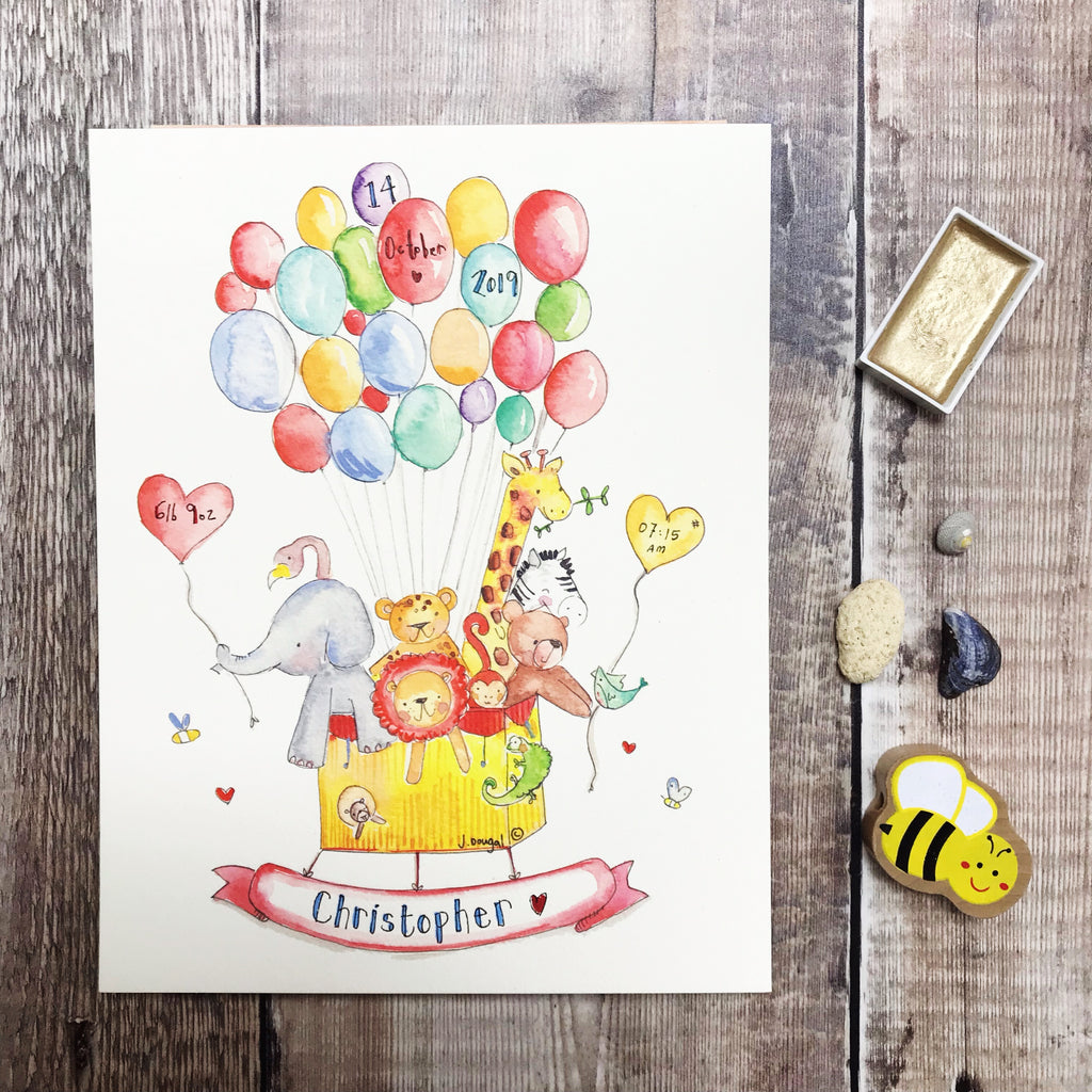 """NEW Balloon Ride"" Personalised Print"
