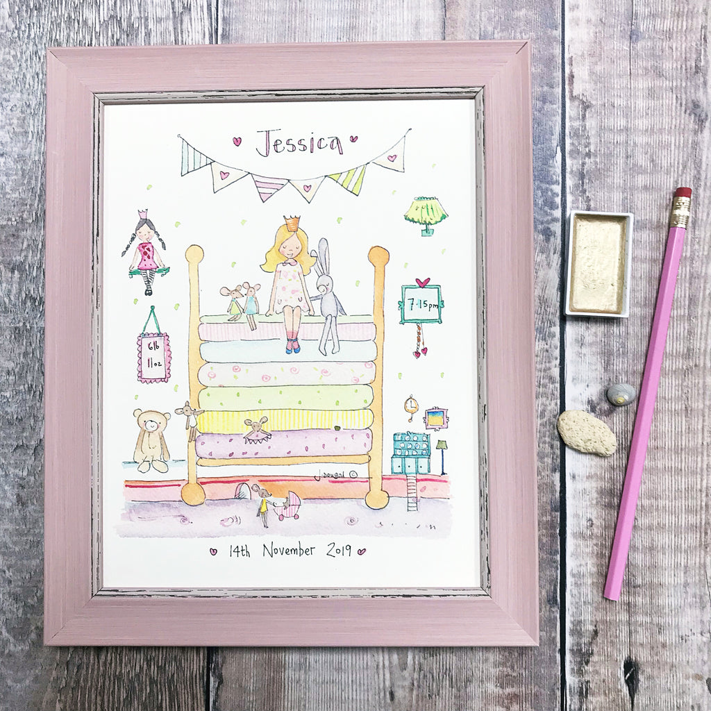 """The Princess and the Pea NEW"" Personalised Print"