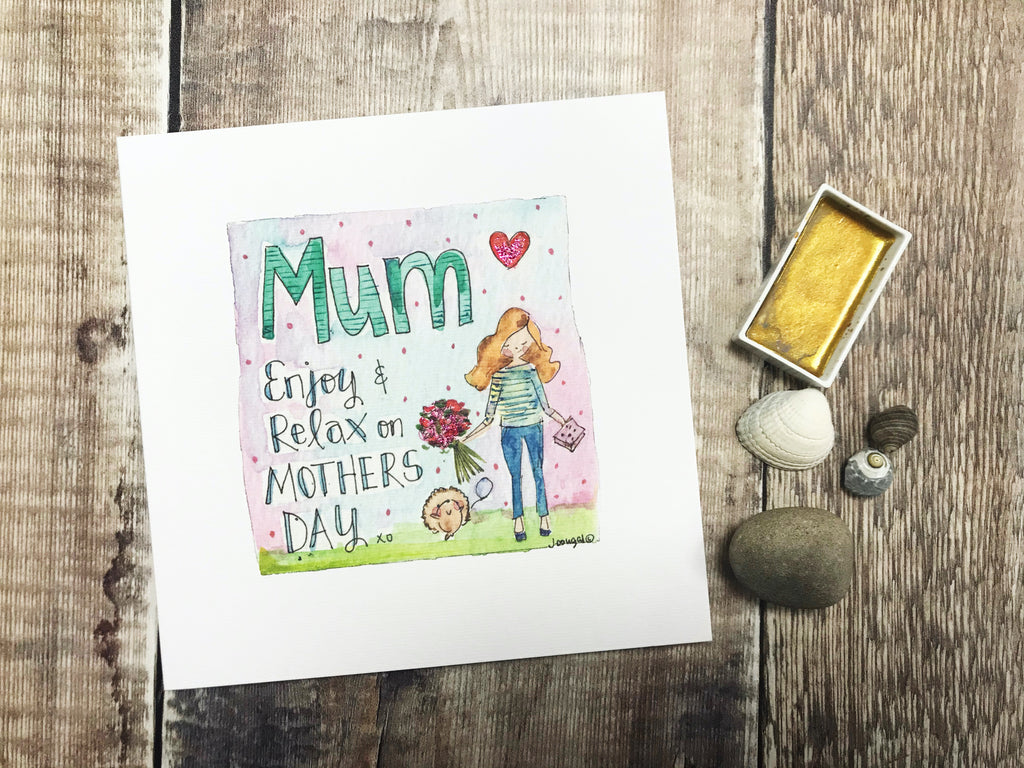 """Mum, Enjoy and Relax on Mothers Day"" Card - Personalised"