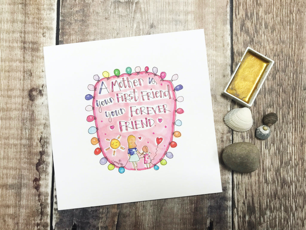 """Mother, Forever Friend"" Card - Personalised"