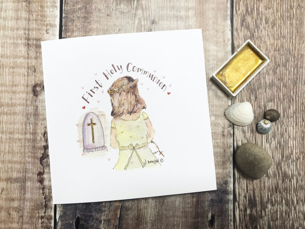 First Holy Communion, Praying Girl Card - Personalised
