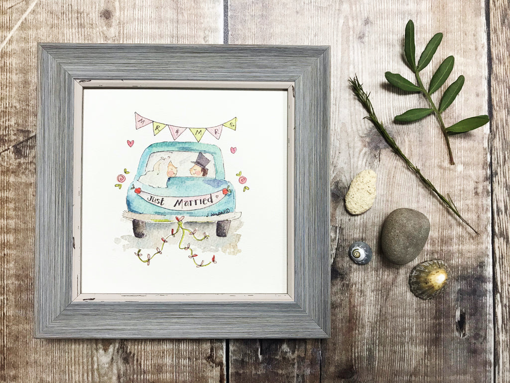 "Framed Print ""Wedding Car"" can be personalised"