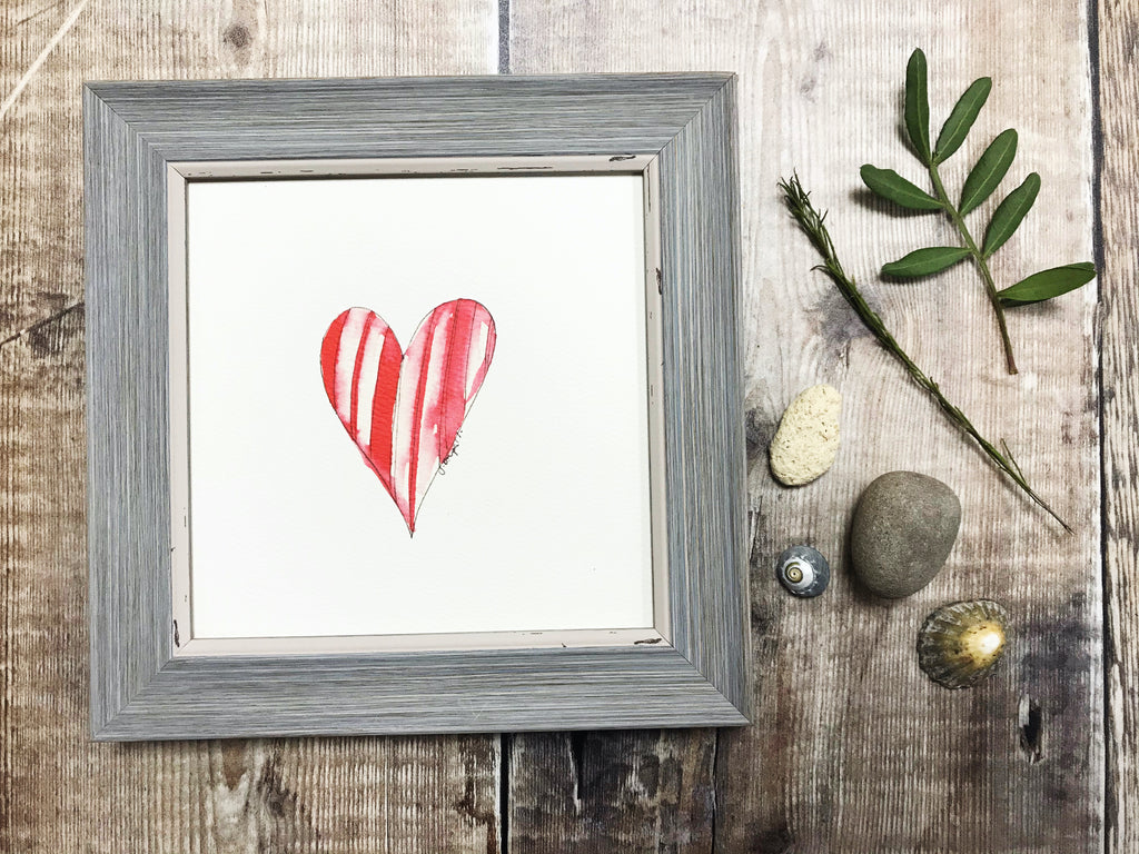 "Little Framed Print ""Red Heart"" can be personalised"
