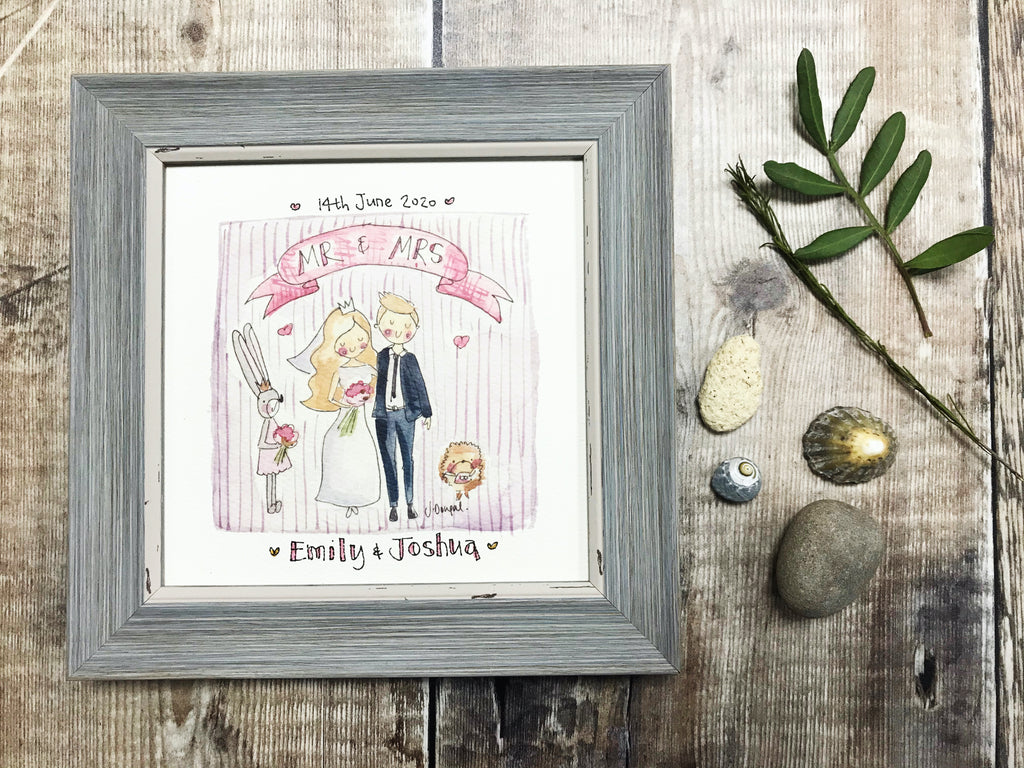 "Framed Print ""Cute Bride and Groom"" can be personalised"