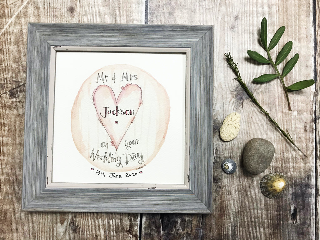 "Framed Print ""Pink Heart"" can be personalised"