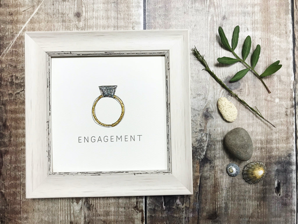 "Little Framed Print ""Engaged Ring"" can be personalised"