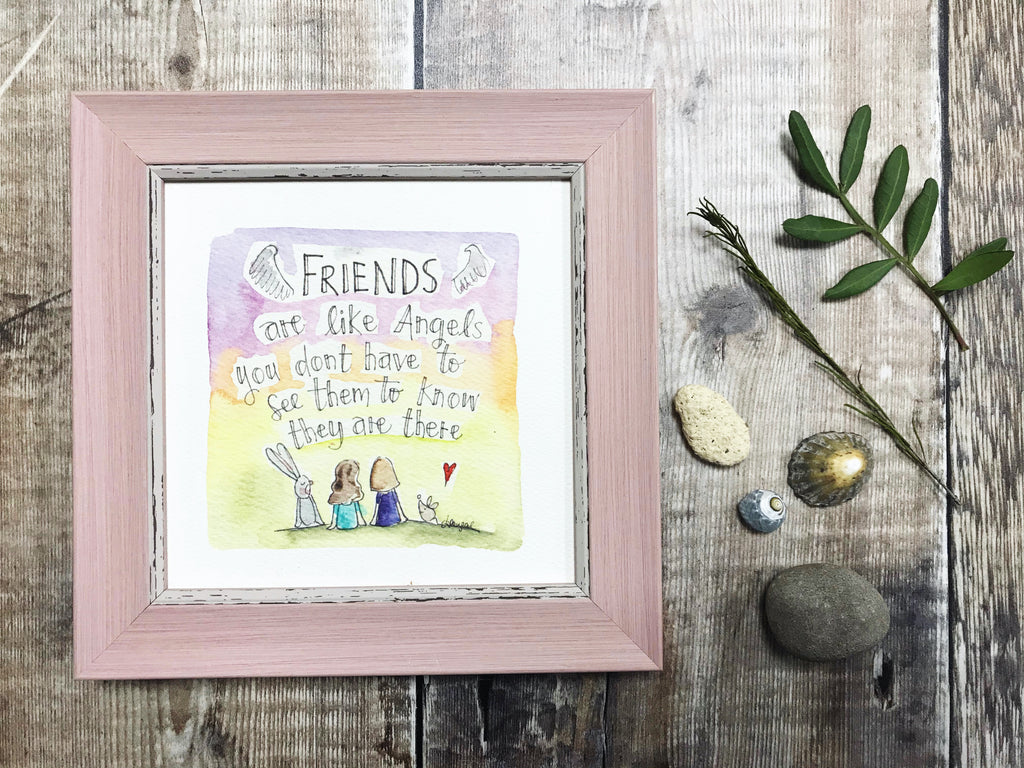 "Framed Print ""Friends are like Angels"" can be personalised"