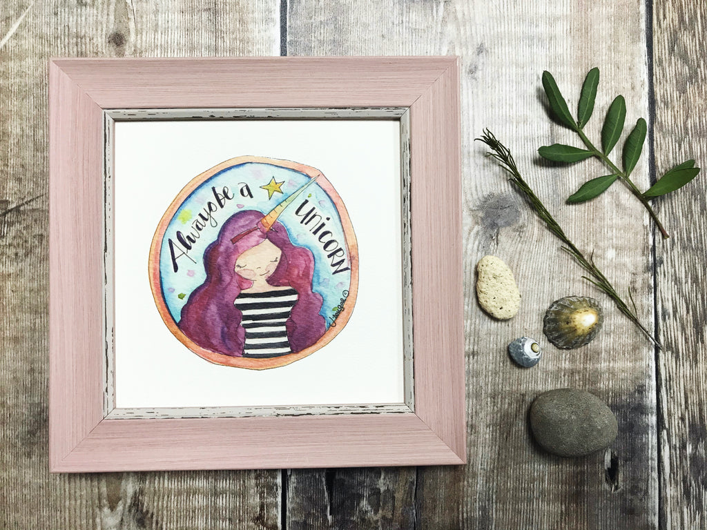 "Framed Print ""Always be a Unicorn Girl"" can be personalised"