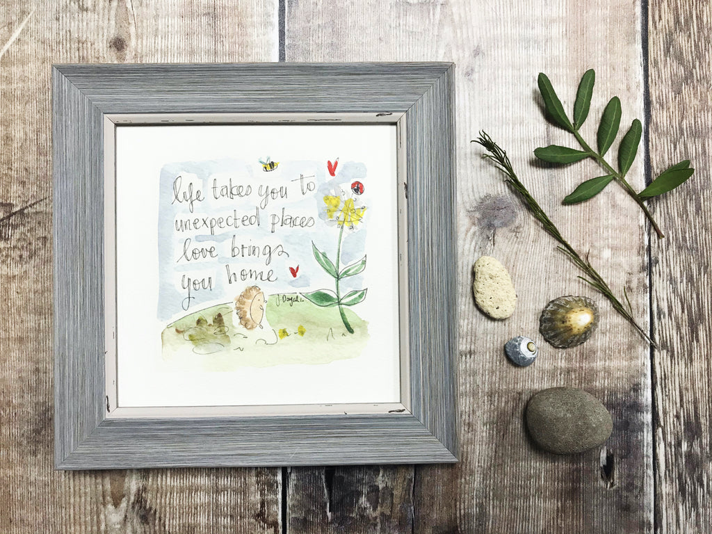 "Little Framed Print ""Love brings you Home"" can be personalised"