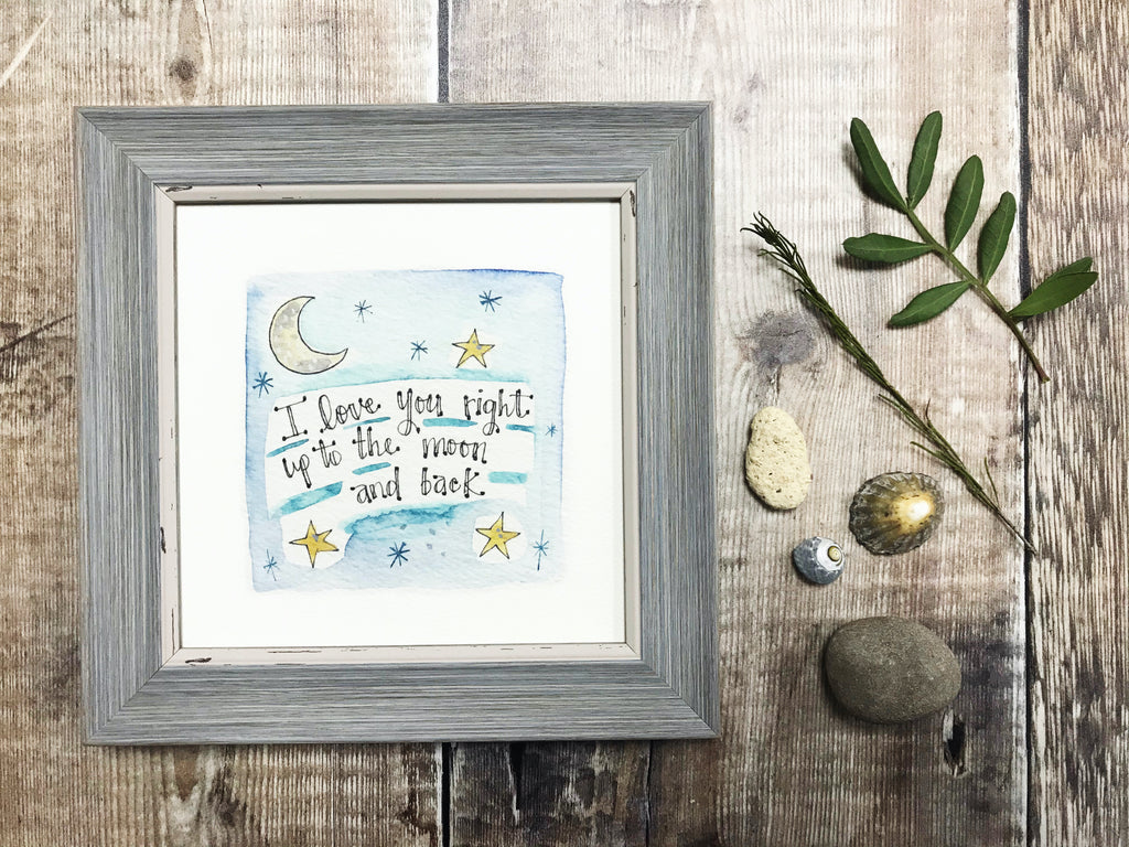 "Little Framed Print ""Moon and Back"" can be personalised"