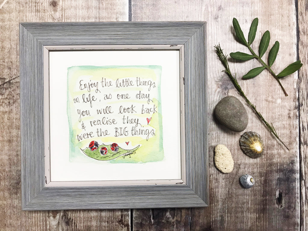 "Framed Print ""Enjoy the little things"" can be personalised"