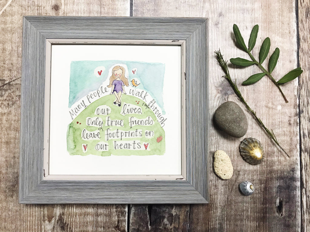 "Little Framed Print ""Many People Friends"" can be personalised"
