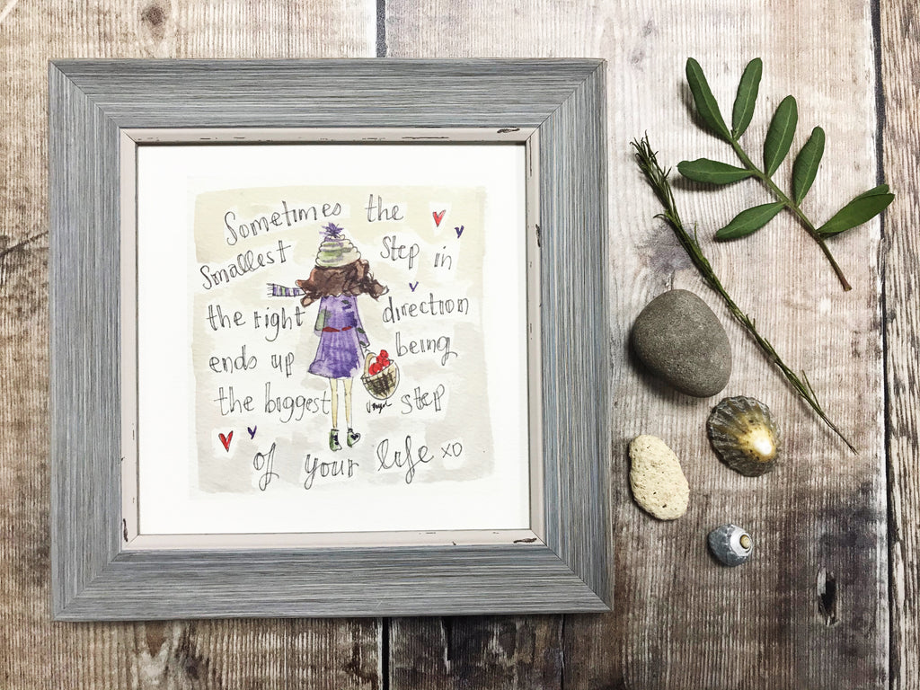 "Little Framed Print ""Step in the right Direction"" can be personalised"