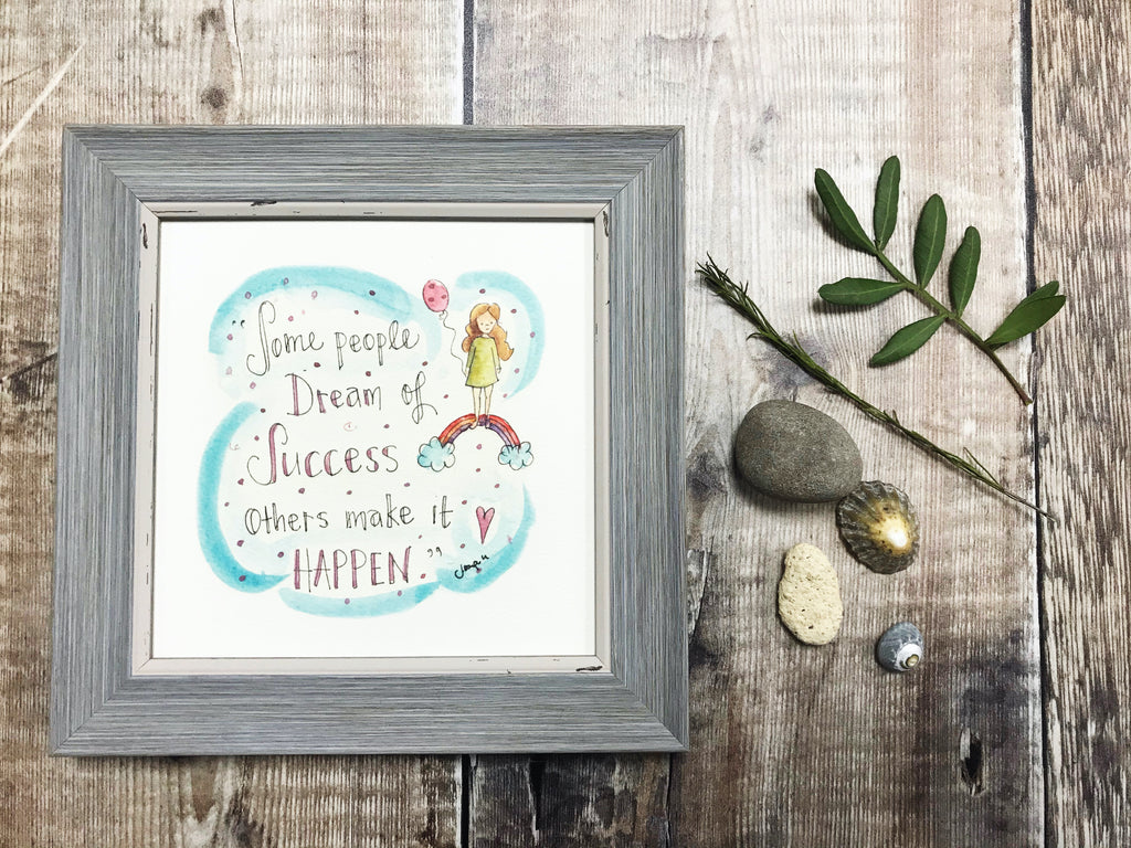"Framed Print ""Dream of Success"" can be personalised"