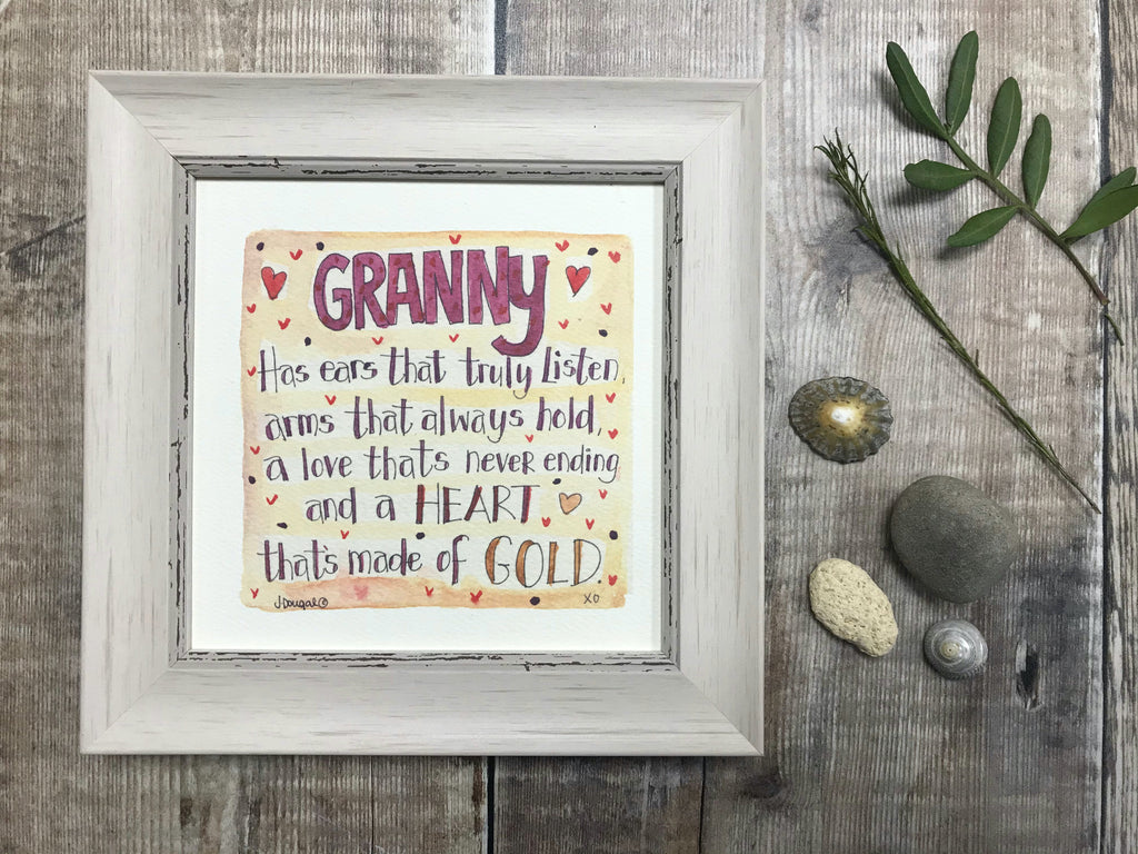 "Framed Print ""Granny"" can be personalised"