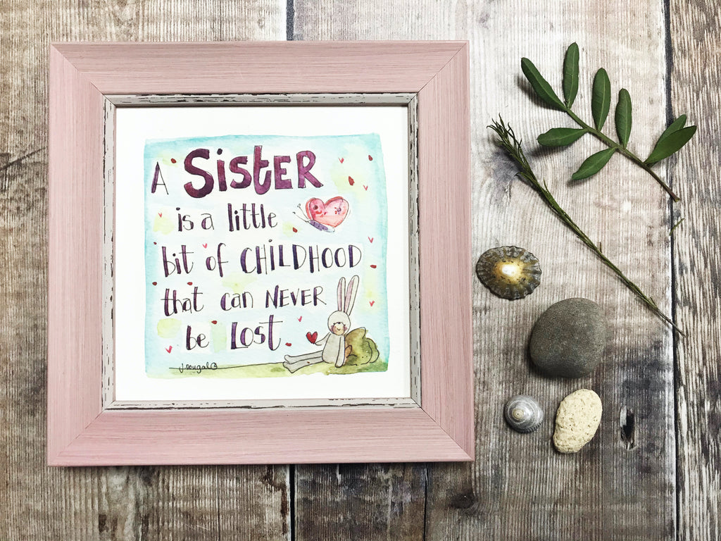 "Framed Print ""Sister, little bit of Childhood"" can be personalised"