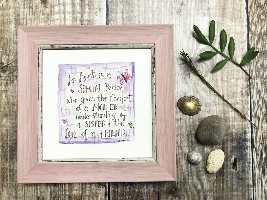 "Little Framed Print ""Aunt"" can be personalised"