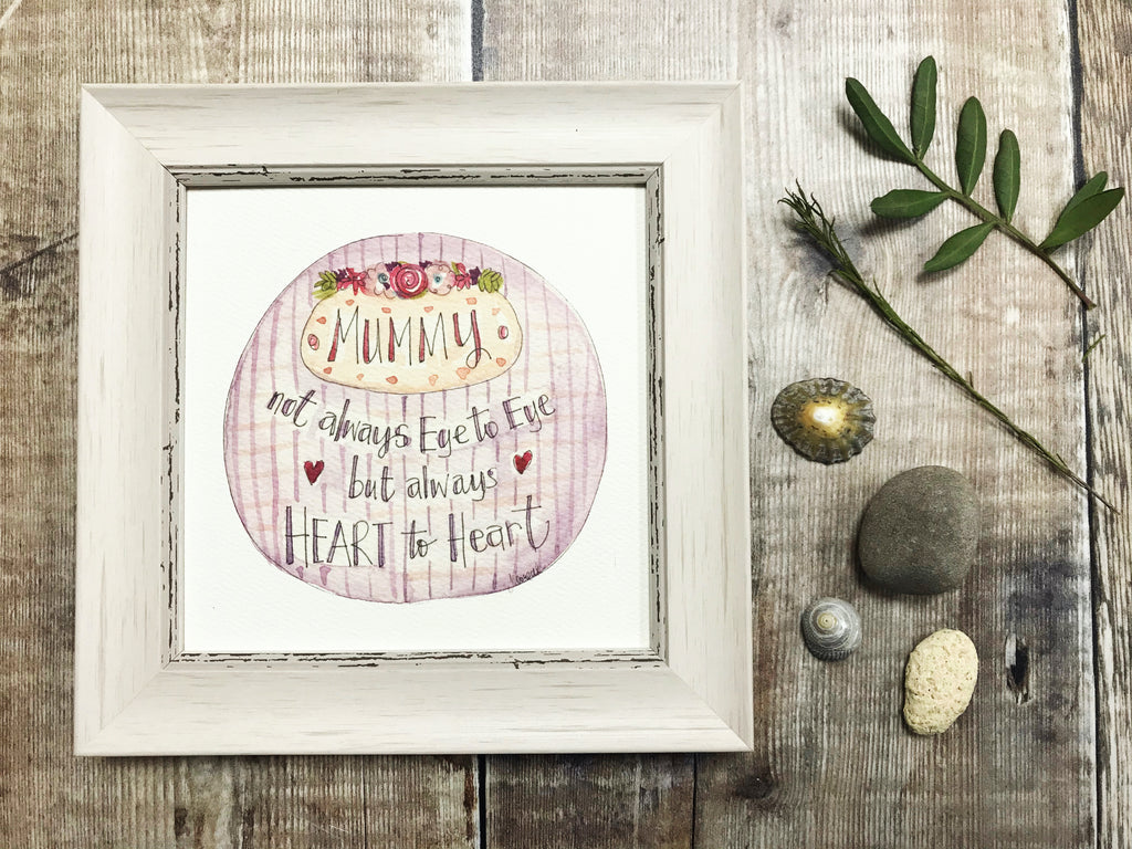 "Framed Print ""Mummy Heart to Heart"" can be personalised"