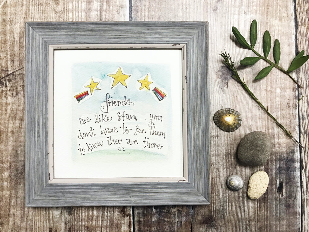 "Little Framed Print ""Friends are like Stars"" can be personalised"