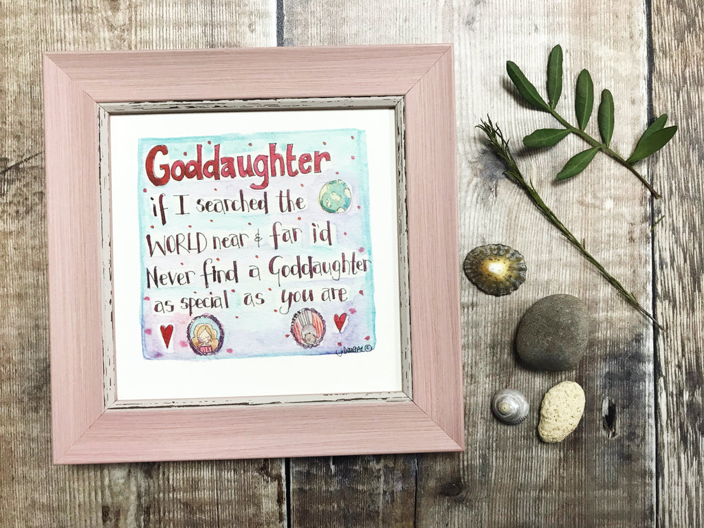 "Framed Print ""Goddaughter"" can be personalised"
