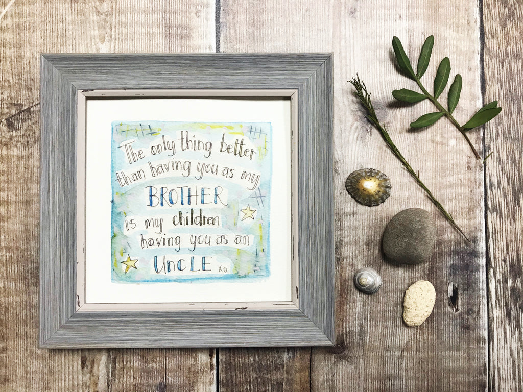 "Little Framed Print ""Brother Best Uncle"" can be personalised"