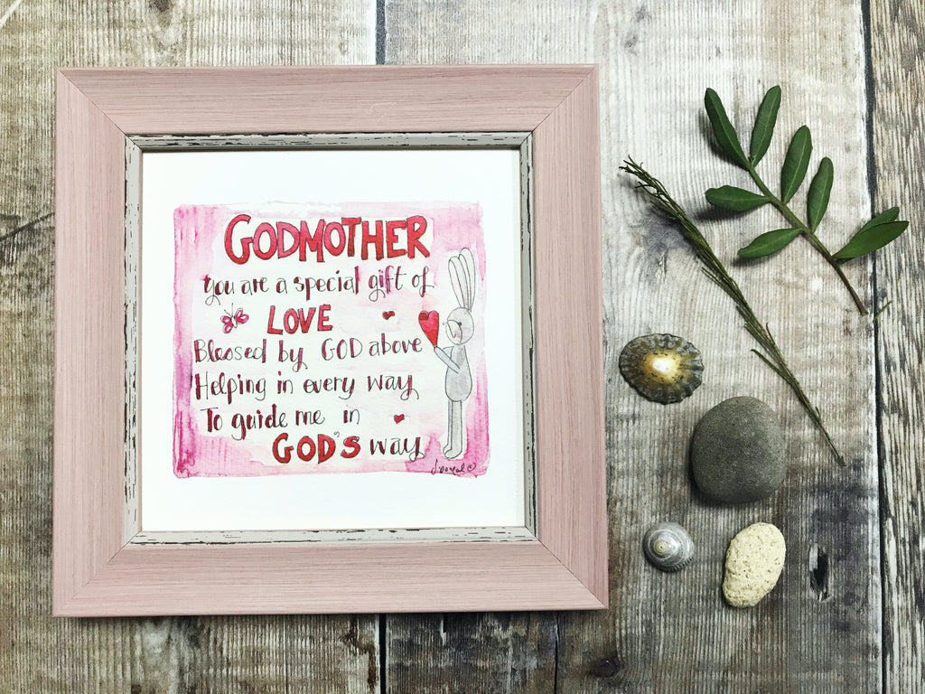"Framed Print ""Godmother, guide me in God's way"" can be personalised"
