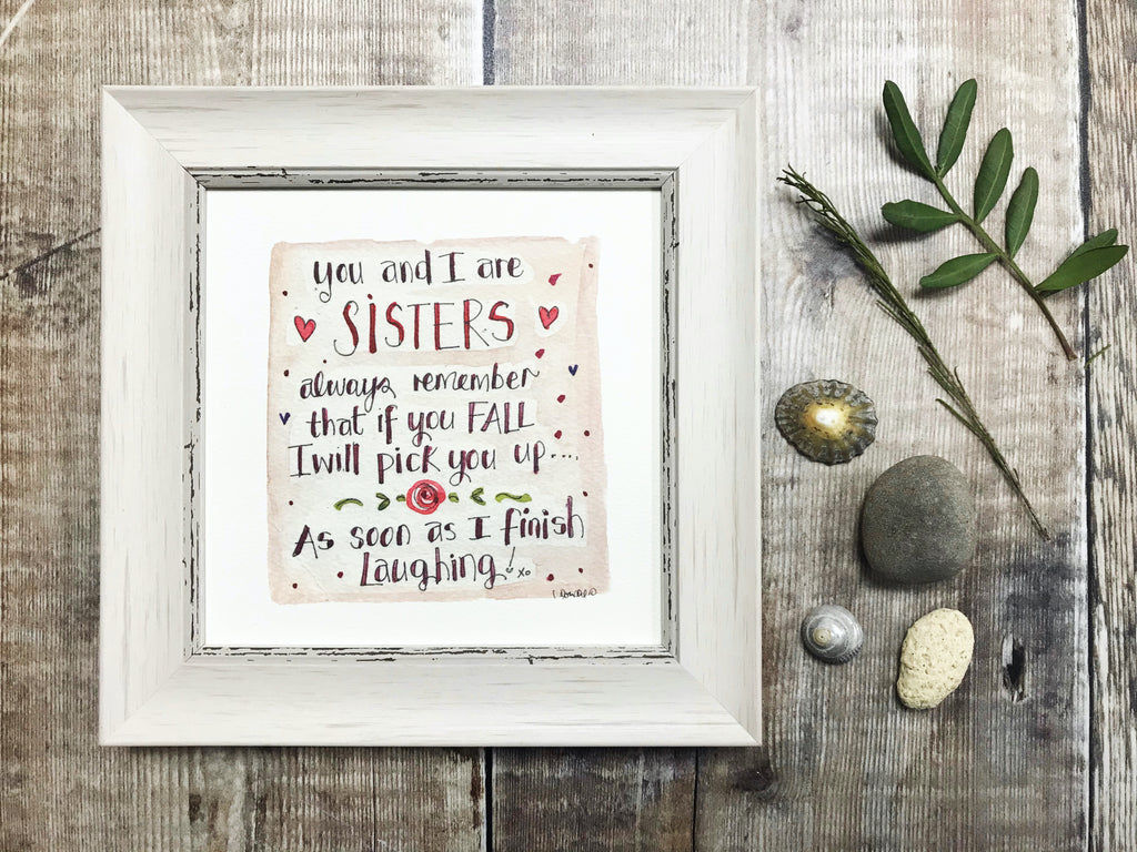 "Framed Print ""You and I are Sisters"" can be personalised"