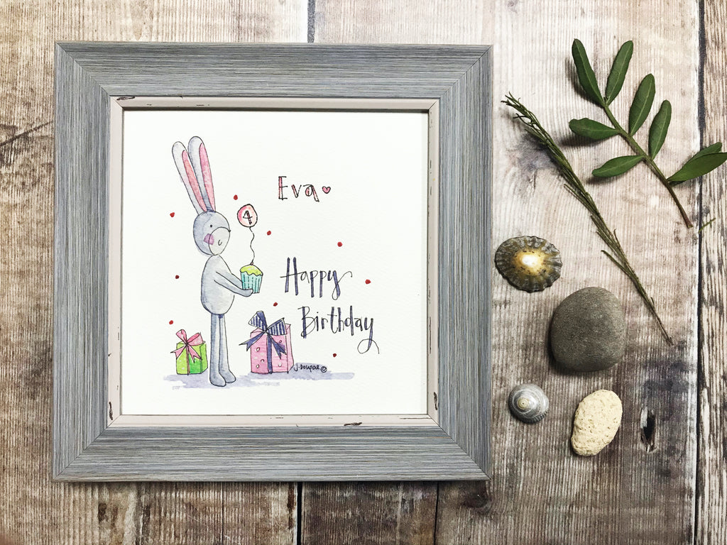 "Framed Print ""Happy Birthday Bunny"" can be personalised"