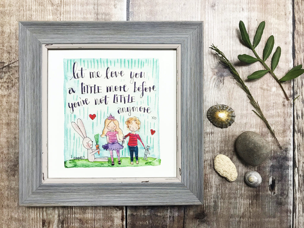 "Framed Print ""Let me love you a little longer"" can be personalised"