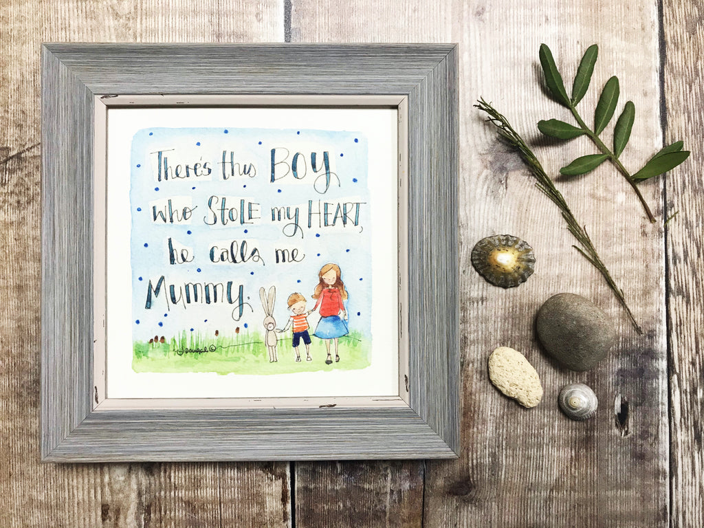 "Framed Print ""He calls me Mummy"" can be personalised"
