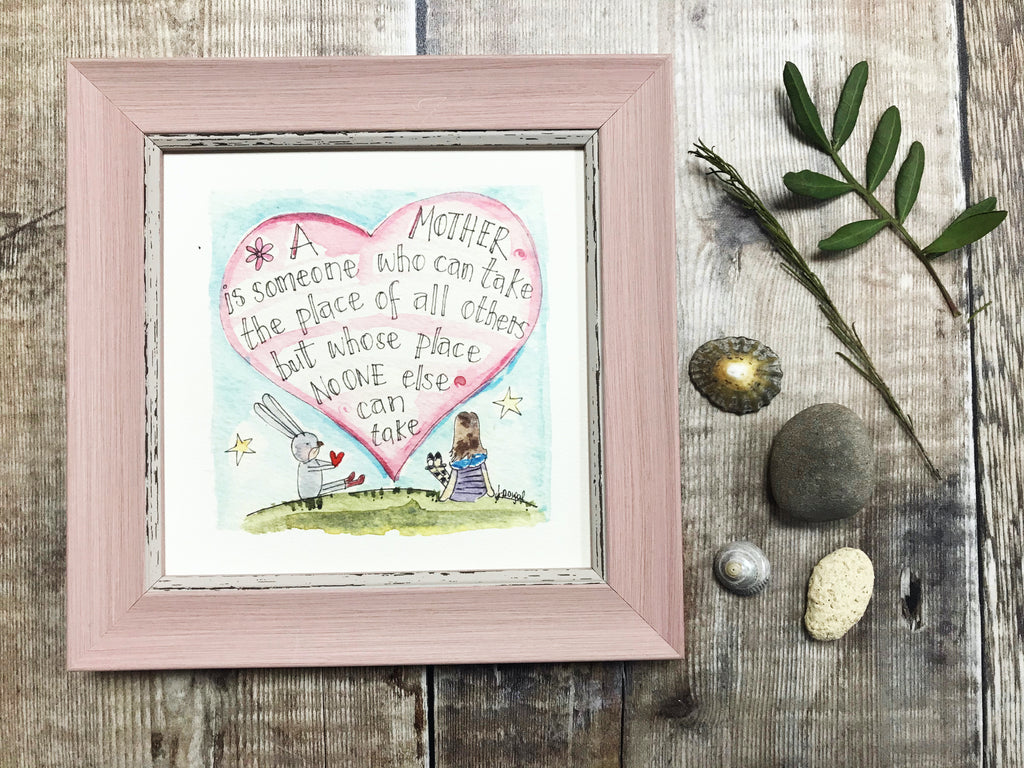 "Little Framed Print ""A Mother"" can be personalised"