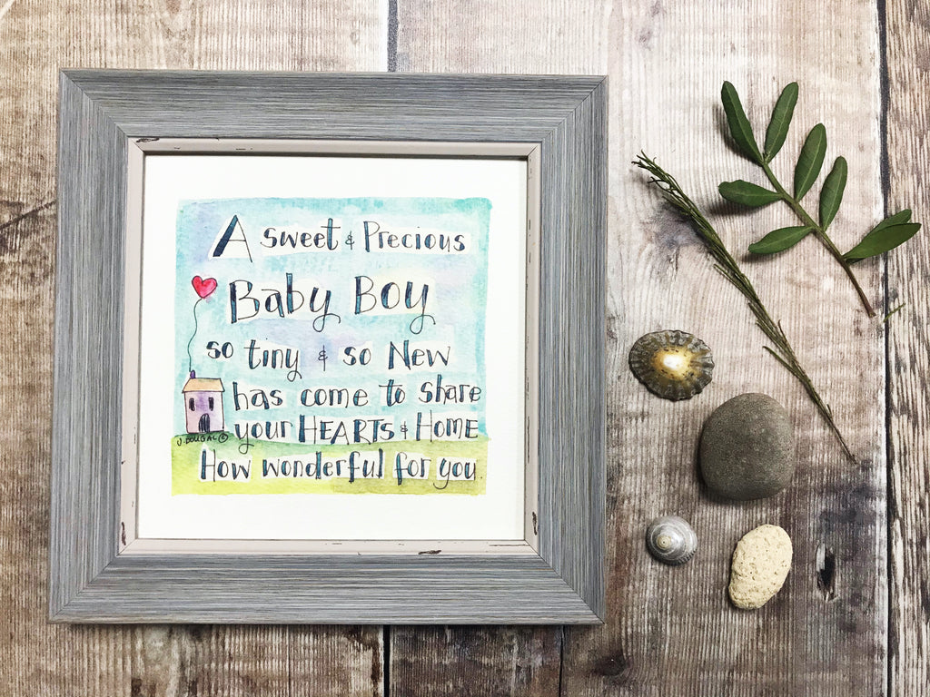 "Little Framed Print ""New Baby Boy"" can be personalised"
