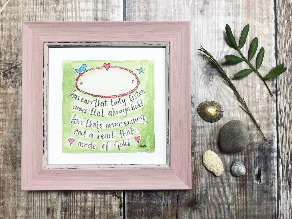 "Framed Print ""Heart of Gold"" can be personalised"