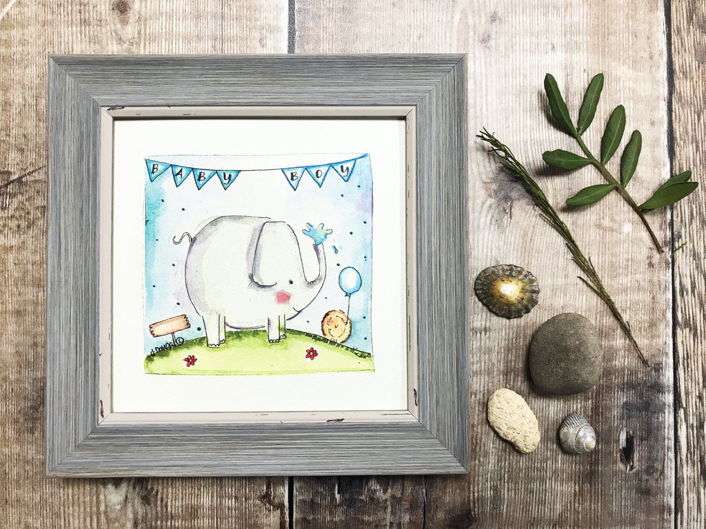 "Little Framed Print ""Baby Boy Elephant"" can be personalised"