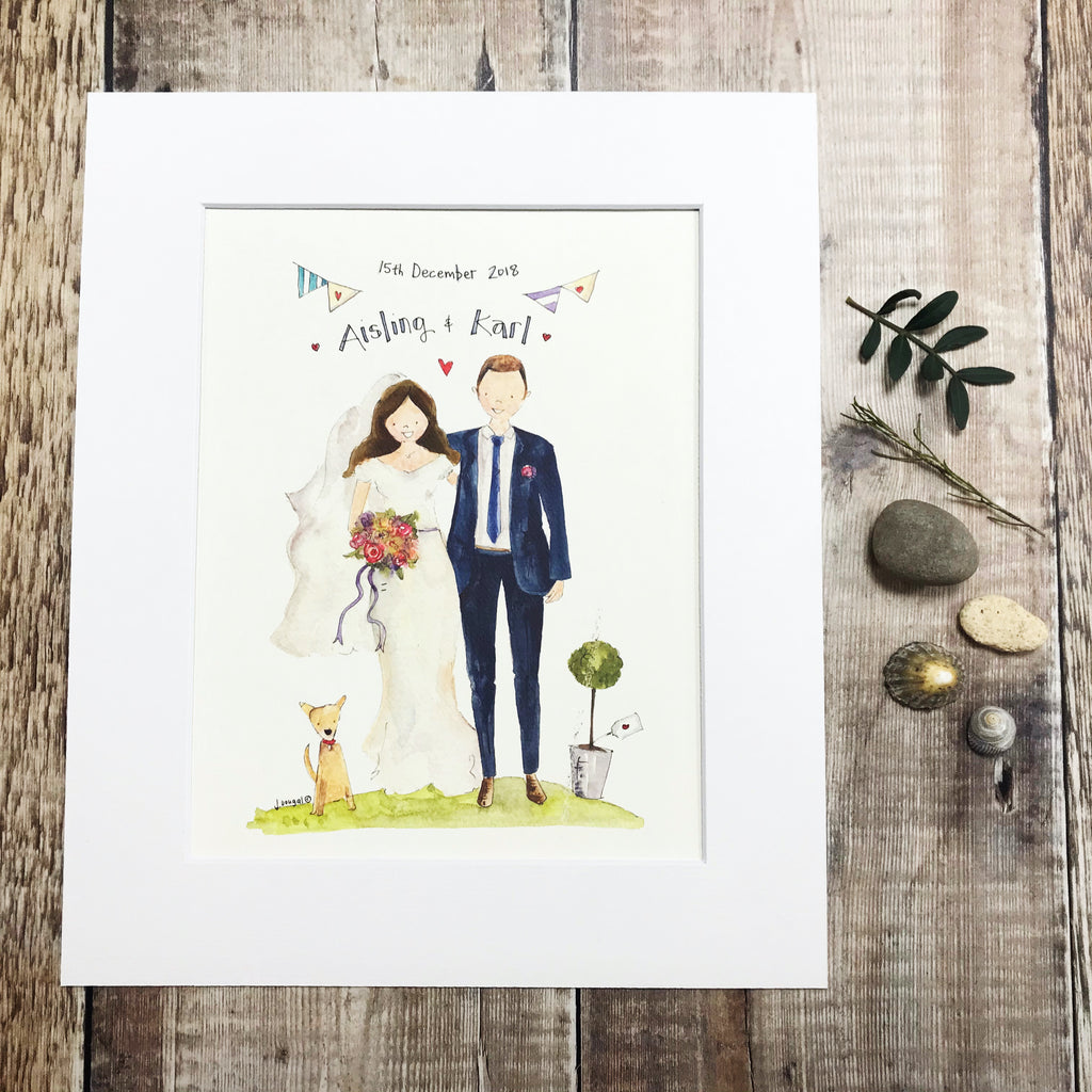 """Mr and Mrs with Dog"" personalised Print"