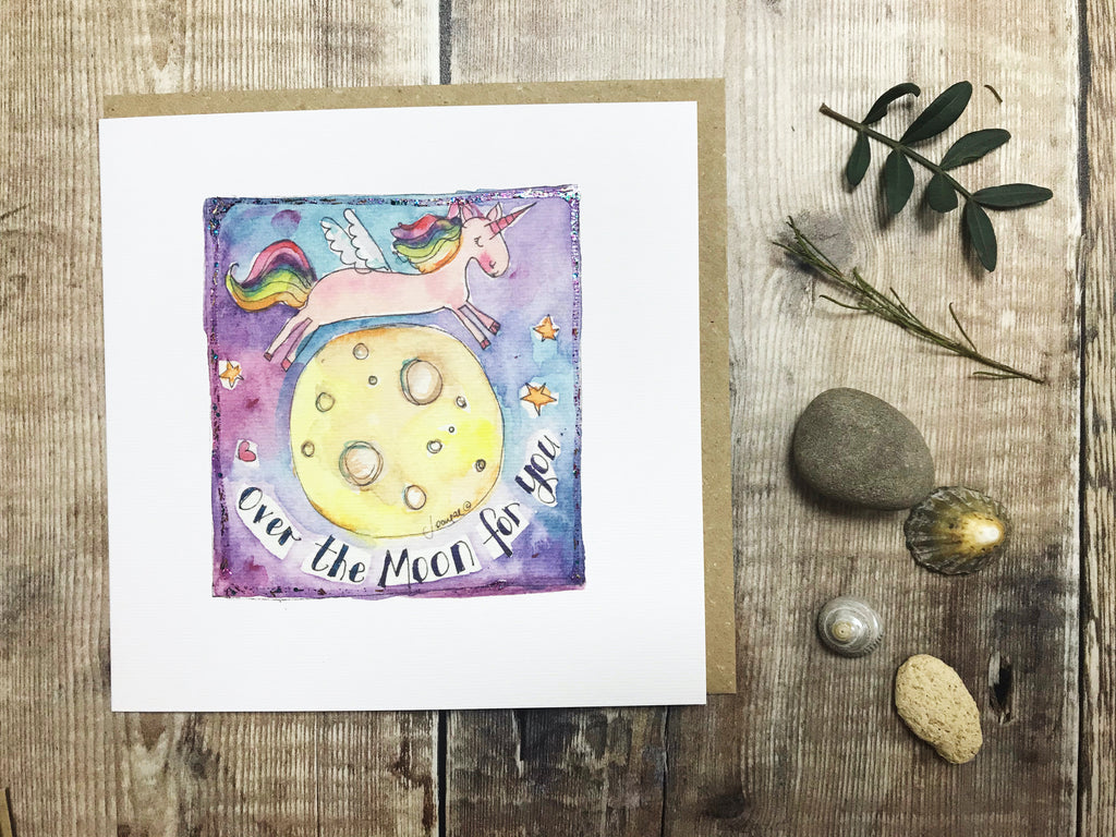 Over the Moon Unicorn Card - Personalised